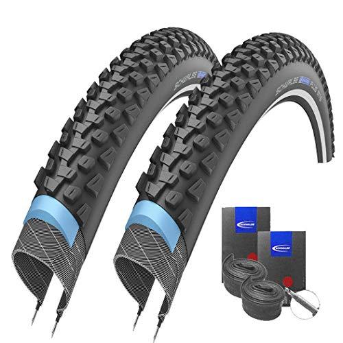 Set: 2 x Schwalbe Marathon Plus MTB Reflex Pannenschutz Reifen 26x2.10 + Schwalbe SCHLÄUCHE Rennradventil