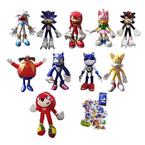 XIANGQIAN Sonic Anzug 10 Stück/Set Sonic Toys Sonic Shadow Amy Rose Knöchel Schwänze Plüschtiere Weich Gefüllte Peluche Puppen Geschenk für Kinder Weihnachten