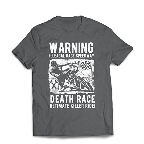 lepni.me Camisetas Hombre Carrera de la Muerte: Paseo definitivo, Carreras de Motos, Motorista de cráneo, clásico, Vintage, Moto Retro (XX-Large Grafito Multicolor)