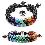 crintiff - Deux Bracelets 7 Chakra en Pierre et Corde tressée - Bracelet Symbole Sanskrit Yoga Harmonie et spirituelle.