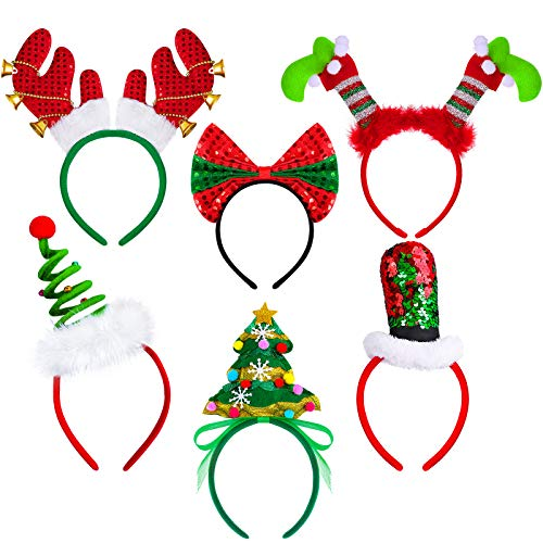 Aneco 6 Pack Creative Christmas Headband Elves Leg Headband Christmas Tree Hats Reindeer Costume Headwear Christmas Gift Accessory, Assorted 6 Styles