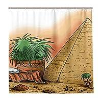 KAPANOU防水 シャワーカーテン クレオパトラVII哲学者エジプトファラオの図 かわいいシャワーカーテン ユニットバス バスルーム 芸術の装飾 180cmx180cm バスフック付き 取り付け簡単
