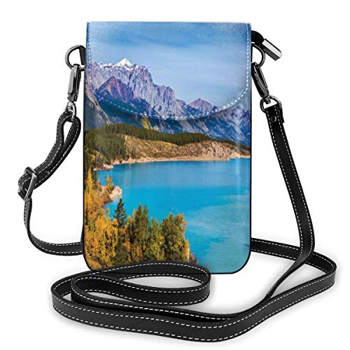 Women Mini Purse Crossbody of Cell Phone,Rocky Mountains Canada Crystal Clear Abraham Lake Picturesque Nature Views Scene