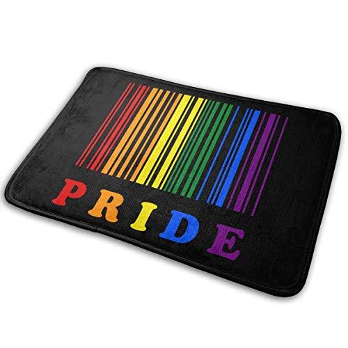 Agnes Carey 40 * 60cm LGBT Pride código de Barras Antideslizante Felpudo Alfombra de baño Alfombra de baño Alfombra de Bienvenida Alfombra de Puerta Interior Felpudo