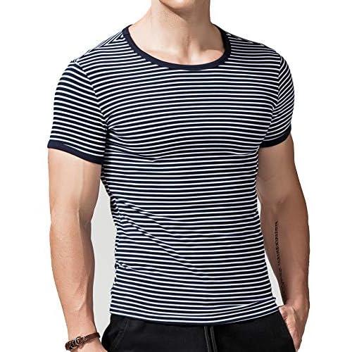 XDIAN Maglietta Strisce T-Shirt Striped Manica Corta Maglietta con Motivo a Righe Adulti e Bambini Camicie Cotone Casuale Slim Fit Ragazzi Uomo Top&Tees