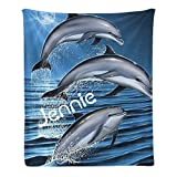 Custom Blanket with Name Text,Personalized Cute Dolphin Super Soft Fleece Throw Blanket for Couch Sofa Bed (50 X 60 inches)