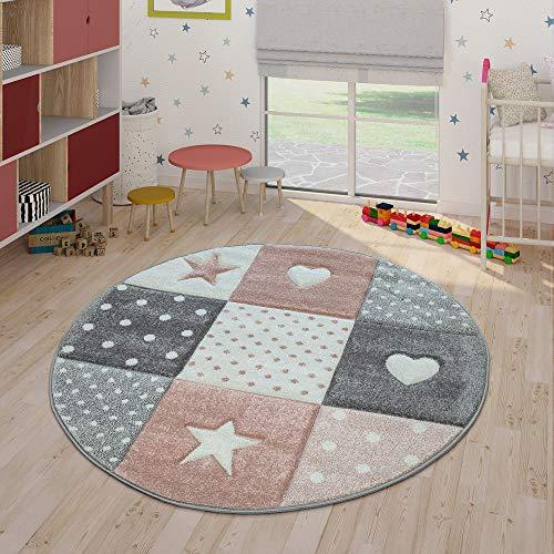 Paco Home Kinderteppich Pastellfarben Kariert Punkte Herzen Sterne Weiß Grau Rosa, Grösse:Ø 120 cm Rund