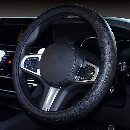 coofig Funda Transpirable Antideslizante para Volante de Coche de 15 Pulgadas de PU Cuero,Compatible con Universal Car Truck SUV (Negro-3)