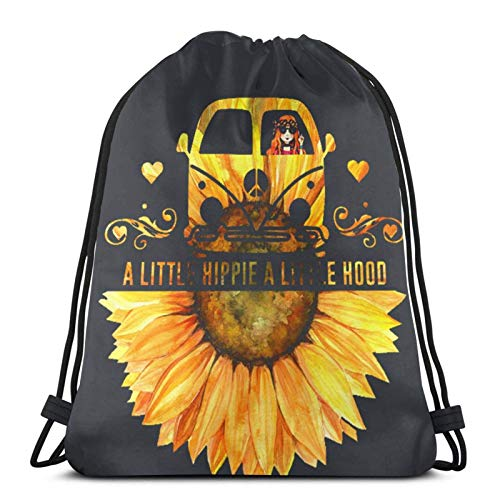 Suower A Little Hippie A Little Hood Bolsas con cordón ligeras para gimnasio, deporte, bapa para viajes, playa, yoga