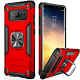 IKAZZ Galaxy Note 8 Case,Samsung Note 8 Cover Dual Layer Soft Flexible TPU and Hard PC Anti-Slip Full-Body Rugged Protective Phone Case with Magnetic Kickstand for Samsung Galaxy Note 8 Red