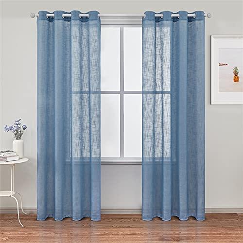 Topfinel 2 Stücke Leinen Gardinen mit Ösen Voile Vorhang Halbtransparent Gardinen Wohnzimmer Modern Vorhänge Leinen 140x240cm Blau