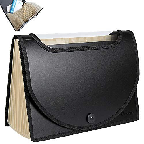 Uquelic Café Transparente Carpetas Clasificadora de Acordeón 12 Bolsillos Acordeon Documentos de Gran Capacidad Soporte Extensible Portátil Ampliable Carpetas Clasificadores a4