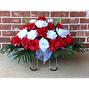 starbouquets Cemetery Saddle Flowers – Red and White Open Rose Silk Flowers ~ Headstone Flower Saddle ~ Cemetery Flowers Saddle