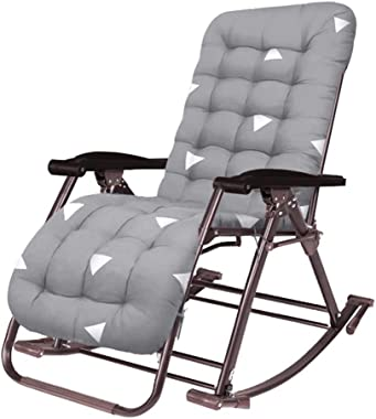 Garden Zero Gravity Chair Adjustable Rocking Sun Lounger- Friendly Cotton Pad - Outdoor Folding Rocking Chair with Pillow for Garden, Patio, Deck - Support 440lbs