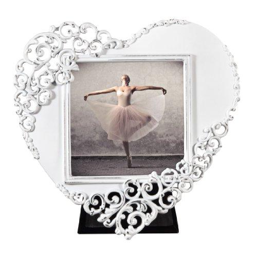 Hama Portrait Bilderrahmen Wales Herz (Fotogröße 7,5 x 7,5 cm) weiß