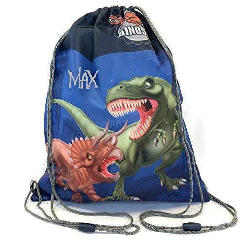 Turnbeutel mit Namen   personalisiert & Bedruckt   Motiv Dinosaurier T-Rex in blau grau & grün   Dino Schuhbeutel für Jungen Sportbeutel Umhängetasche   inkl. NAMENSDRUCK