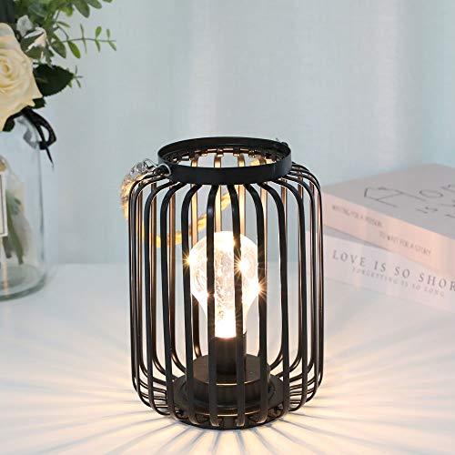 JHY DESIGN 19cm Hoch metallkäfig dekorative Lampe batteriebetriebenes kabelloses warmweißes Licht mit LEDBulb für Hochzeiten Partys Patio Events für den Außenbereich (mit Hanfseilgriff)