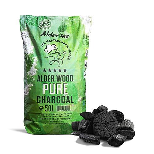 Alderline Natural Restaurant Grade Lumpwood BBQ Charcoal for Barbecues, 50L