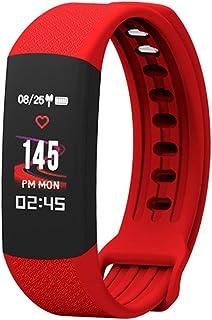 YYL@ZNSH Pulsera Actividad,rastreador de actividad física, relojes inteligentes Bluetooth 4.0 a prueba de agua, banda podómetro para niños, mujeres y hombres Pulsómetro/Rojo