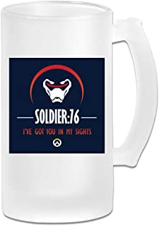 Printed 16oz Frosted Glass Beer Stein Mug Cup - Soldier 76 Ive Got You In My Sights Ov-erwatch - Graphic Mug