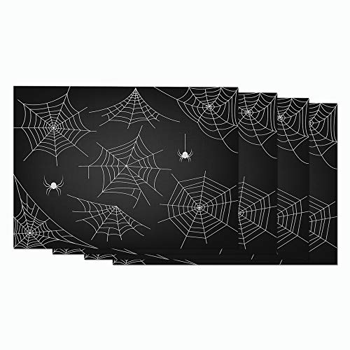 Moslion Halloween Spider and Web Placemats White Horror Spider Cobweb Little Cute Funny Animal Table Placemats for Dinning Table Washable Cotton Linen 12x18 Inch Set of 4