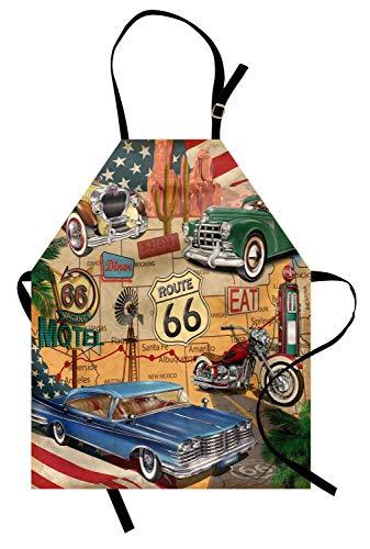 QQSGBD Route 66 Schürze Altmodische Autos Motorrad auf Einer Karte Road Trip Journey American USA Frauen Kinder Kochen Backen Küche Lätzchen (Size : 50x60cm)