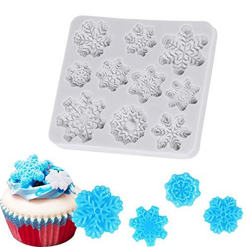 BESTonZON 10 Cavity Weihnachten Silikon Backkuchen Formen Weihnachten Schneeflocke Form Kuchenform Tablett Antihaft-hitzebeständig Flexible Silikonform für DIY Desserts