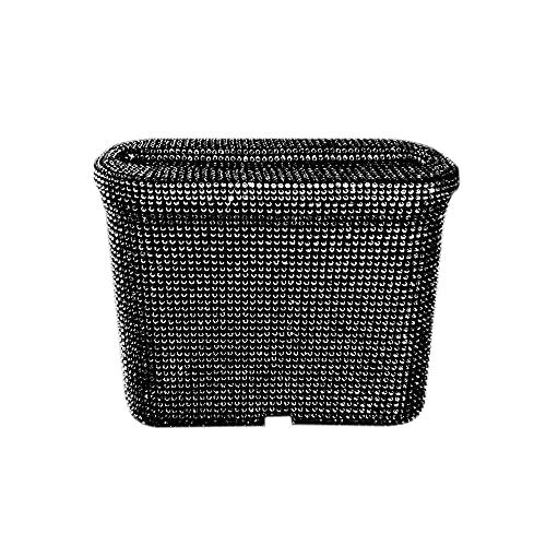 MINGZAIQIPEI Cubo de basura para coche con tapa, mini cristal para coche, cubo de basura de plástico, contenedor organizador para coche, oficina, hogar (negro)
