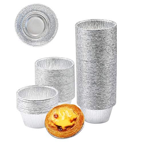 Baking Cups, Disposable Ramekin with Aluminum Foil 4 Oz Cupcake Cups, 150 Pcs Party Snack Liners Foil For Baking/Cooking/Storage/Reheating, Disposable Muffin Liners, Pudding Baking Cups - Silver Color