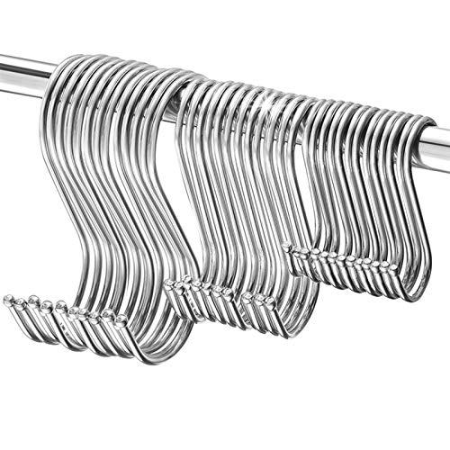 S Haken,TOPSEAS 60 Pack S-Haken Heavy Duty Edelstahl S Form Haken zum Aufhängen Kleiderbügel für Küche,Bad,Schlafzimmer und Büro(Groß,mittel und klein)