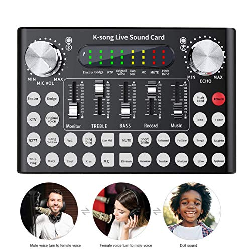 NA Tarjeta de Sonido en Vivo, Profesional Universal Externa Transmisión en Vivo 18 Efectos de Sonido Tarjeta de Sonido para teléfono Juego de computadora iPad Karaoke Streamer Grabación