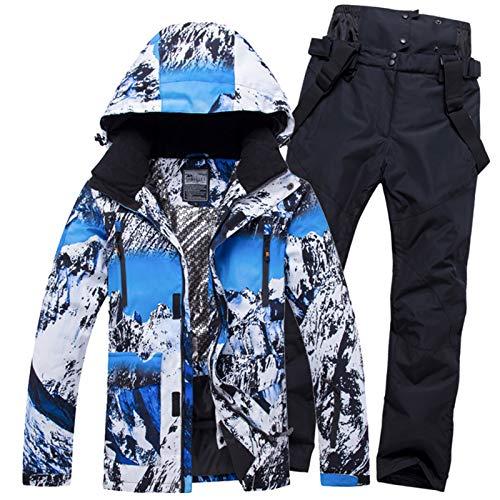 KHUGIU Skianzug Herren Winter Warm Winddicht Wasserdicht Outdoor Sport Schneejacken Und Hosen Skiausrüstung Snowboardjacke Herren XS and Black XL