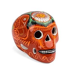 FANMEX - Fantastik - Calavera Mexicana Decorativa de cerámica Mediana (Naranja)