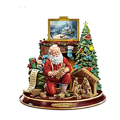 Thomas Kinkade Collectable The True Meaning Of Christmas' Santa Figurine with a Recording of the Christmas Story