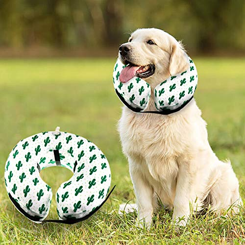 GABraden Protective Inflatable Collar for Dogs,Soft Pet Surgery Collar for Dogs, Not Block Vision Recovery E Collar,Cute Cactus Design