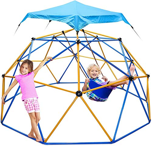 Climbing Dome, GIKAPL 10FT Dome Climber Outdoor Playground Geodesic Dome Climber with Canopy for Kids