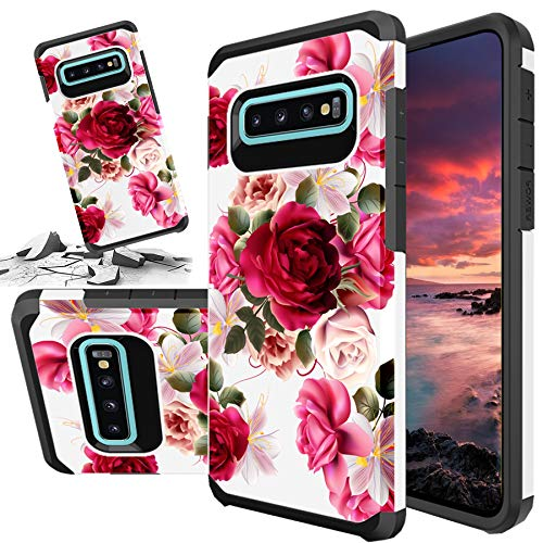 Red Floral Phone Case Compatible for [ Samsung Galaxy S10 Plus ] Storm Buy [Shock Absorption] Dual Layer Heavy Duty Pink Rose Protective Girl Women Rubber Cover (Red- S10 Plus)