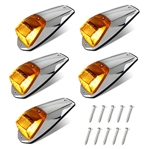 HERCOO 5Pcs Top Roof Running lights 17 LED Amber Truck Cab Marker Clearance Light with Chrome Base Compatible with Peterbilt Kenworth Freightliner Mack