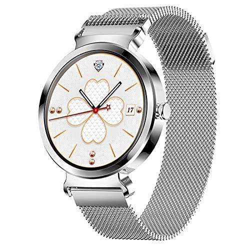 QFSLR Smartwatch, Reloj Inteligente Mujer con Monitor De Frecuencia Cardíaca Ciclo Menstrual Femenino Monitor De Presión Arterial Monitores De Actividad con iOS Y Android,Plata