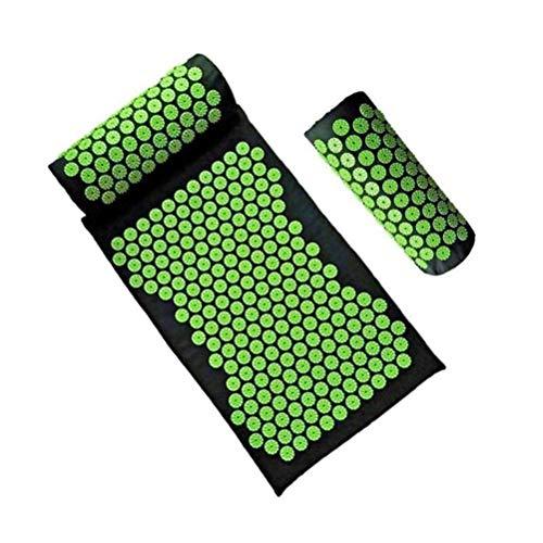Einsgut acupunctuur massagematten kussenset acupressuurmat voor weldadige ontspanning/massagemat voor rustige momenten en betere doorbloeding/inclusief acupressuurkussen groen
