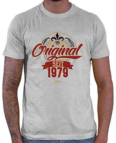 Hariz – Camiseta para hombre, original desde 1979, 40 cumpleaños, con frases y tarjetas de regalo gris claro XL