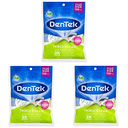 Dentek Triple Clean Floss Picks, 150 Count (Pack of 3)