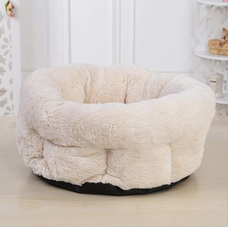 Cvthfyky Italian Cute Round Pet Nest Pet Kennel Pad Printing Seat Cushion Comfortable Kennel Mat (color   Khaki)