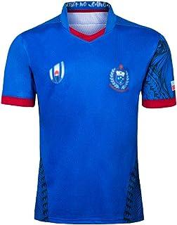 ラグビースポーツカジュアルトップ2019日本ワールドカップラグビー服サモアラグビー服、快適で通気性、青 GXHLLYZY (Size : M)