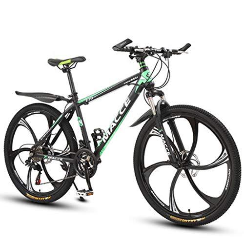 GL SUIT Fahrrad Mountainbike, Doppelscheibenbremsen 21-Gang Leichte Carbon-Stahlrahmen stoßdämpfender Federgabel Hard Tail Unisex Dirt Bike,Grün,26 inches