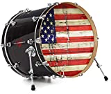 Vinyl Skin Decal Wrap for 22' Bass Kick Drum Head Painted Faded and Cracked USA American Flag - DRUM HEAD NOT INCLUDED