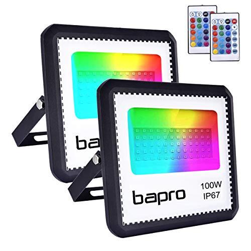 2er RGB 100W LED Strahler mit Fernbedienung,IP67 Wasserdicht LED Außenstrahler LED Flutlicht 16 Farben 4 Modi LED Fluter Stimmungslichter ,halloween projektor, Strahler Farbe Dekorative