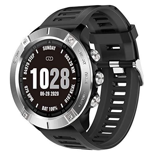 Reloj inteligente para hombres y mujeres, pantalla táctil completa, para deportes, monitor de frecuencia cardíaca, para Android iOS (color: plateado)