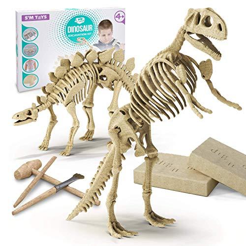 DIY Dinosaur Excavation Kit - Dino Fossil Kit - Dig Up Dinosaurs Bones of T Rex and Stegosaurus - 3D Skeleton Dinosaur Excavation Kit - Digging Dinosaur Archeology Kit For Kids - Dinosaur Dig Kit Toy