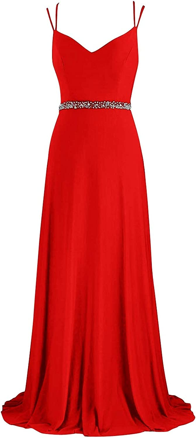 SUNFURA Women's Spaghetti Straps Backless Long Beaded Prom Evening Party Dress